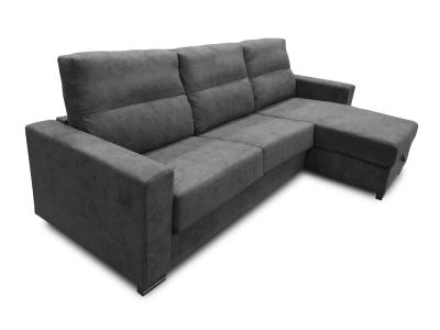 Chaise Longue Sofa Bed with Full Mattress - Madrid. Dark Grey Fabric