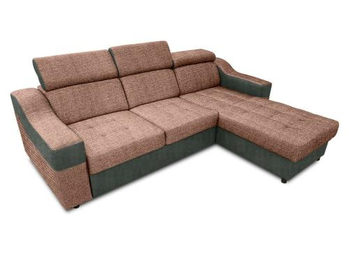 Sofá chaise longue cama con altos reposacabezas_ marrón claro con gris - Albi. Chaise longue reversible montado al lado derecho