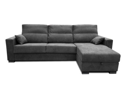 Front View. Chaise Longue Sofa Bed with Full Mattress - Madrid. Dark Grey Fabric