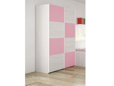 Armario juvenil con 2 puertas correderas color rosa - Luddo