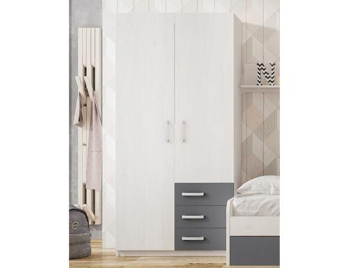 Двухдверный шкаф для детской комнаты с 3 ящиками - Luddo. Серый цвет ящиков