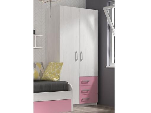 Armario juvenil de 2 puertas con 3 cajones color rosa - Luddo