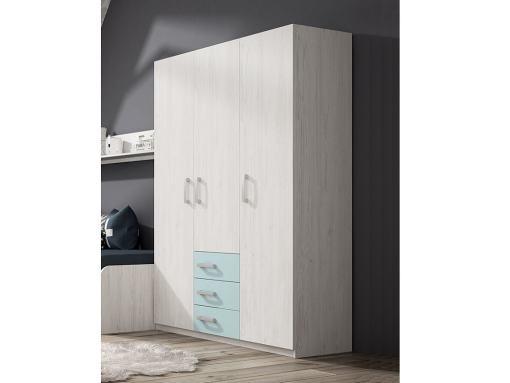Трёхдверный шкаф для детской комнаты с 3 ящиками - Luddo. Три синих ящика