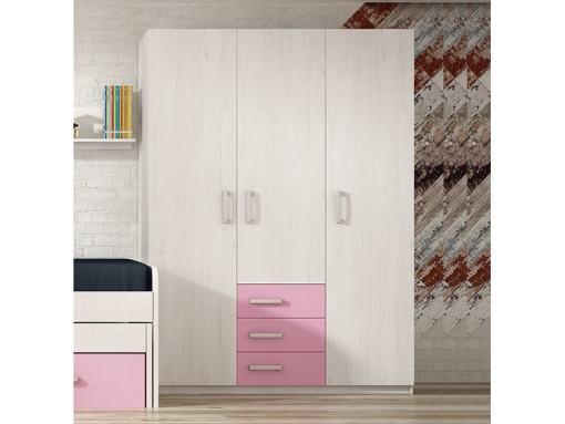 Трёхдверный шкаф для детской комнаты с 3 ящиками - Luddo. Три розовых ящика