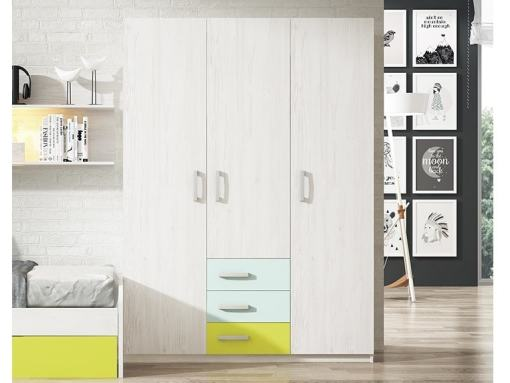 Трёхдверный шкаф для детской комнаты с 3 ящиками - Luddo. Два голубых, один зелёный ящик