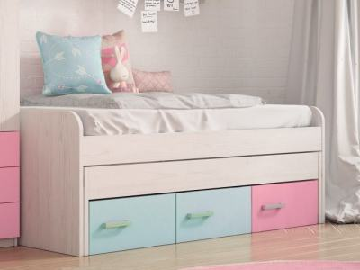 Bed for Children with Pull-out Trundle and 3 Drawers - Luddo. 2 Blue and 1 Pink Drawers