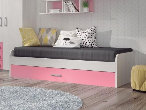 Cama nido juvenil con frontal color rosa - modelo Luddo