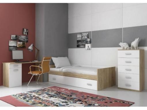 Dormitorio con cama, sinfonier y mesa de estudio – Rimini 06