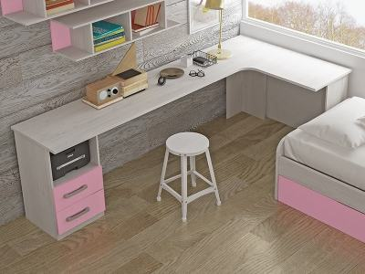 L-Shaped Desk for Children with 2 Drawers, 240 x 120 cm - Luddo. Pink Drawers