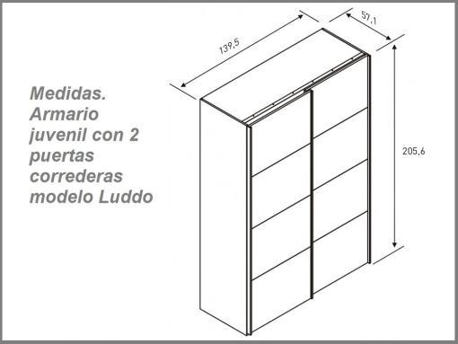 Medidas de armario juvenil con 2 puertas correderas modelo Luddo