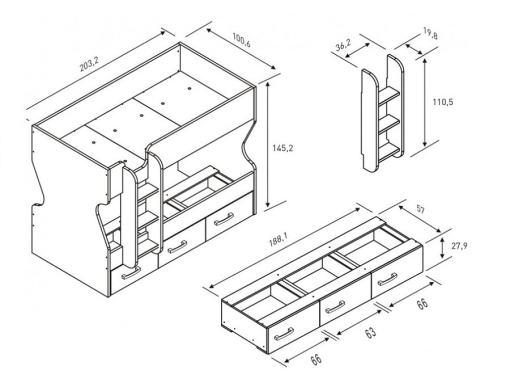 Medidas de cama litera con cajones y escalera modelo Luddo