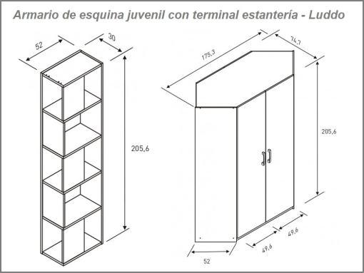 Medidas del armario de rincón juvenil con terminal-estantería modelo Luddo