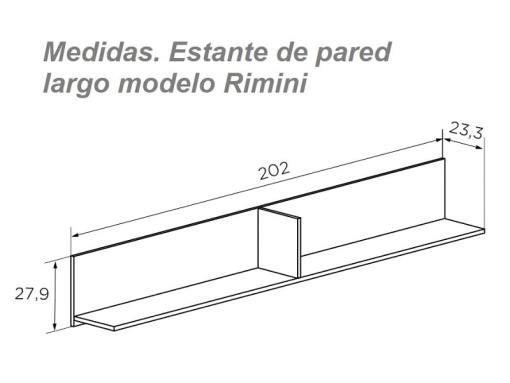 Medidas. Estante de pared largo con respaldo, 202 cm, color blanco y roble, modelo Rimini