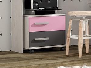 Mesita de noche juvenil - Luddo. Colores de cajones - Rosa y gris