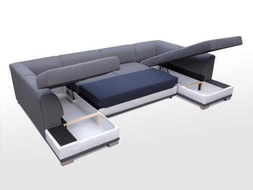 Arcones abiertos. Sofa esquinero en forma de U con cama y 2 arcones - Azores