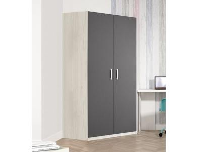 Corner Wardrobe for Children's Room. 2 Grey Doors, 6 Shelves - Luddo