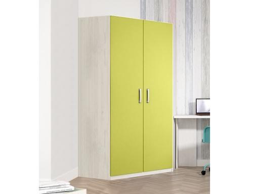 Угловой шкаф для детской комнаты, 2 зелёные двери, 6 полок - Luddo