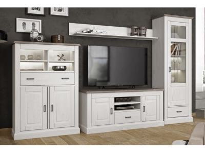 French Style Living Room Set: Tall Cabinet, TV Stand, Low Cabinet, Shelf, 318 cm - Provence