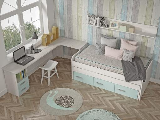 View from Above. Kids Bedroom Furniture Set. Trundle Bed with Drawers, Corner Desk, Shelf - Luddo 13
