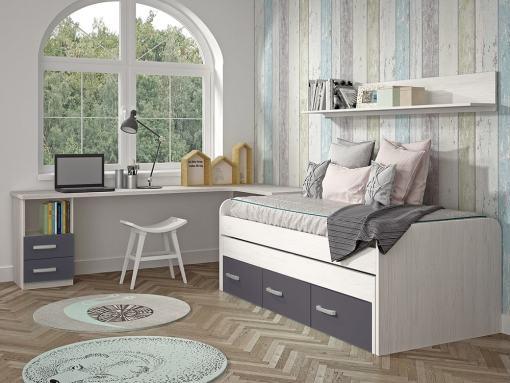 Kids Bedroom Furniture Set in Grey. Trundle Bed with Drawers, Corner Desk, Shelf - Luddo 13