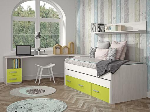 Kids Bedroom Furniture Set in Green. Trundle Bed with Drawers, Corner Desk, Shelf - Luddo 13