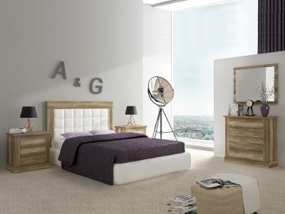 Bedroom Furniture Set in Imitation Wood Finish with Wide Chest of Drawers – Alabama 02