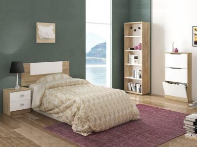 Спальный гарнитур: изголовье односпальной кровати, прикроватная тумба, стеллаж, галошница - Rimini