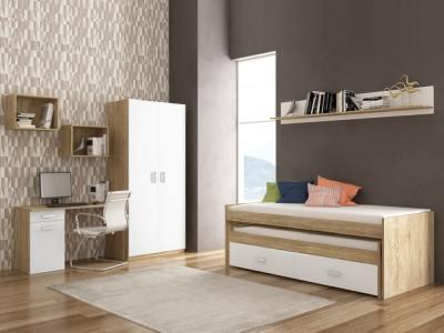 Спальный гарнитур: кровать, шкаф, письменный стол, 3 полки - Rimini 05