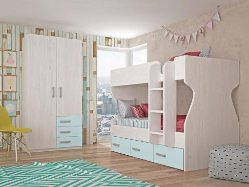 Dormitorio juvenil - cama litera con armario de 2 puertas, 3 cajones, azul con gris claro - Luddo 24