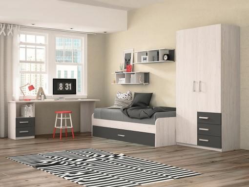 Dormitorio juvenil - color gris - cama nido, mesa de estudio, armario y estanterías - Luddo 06