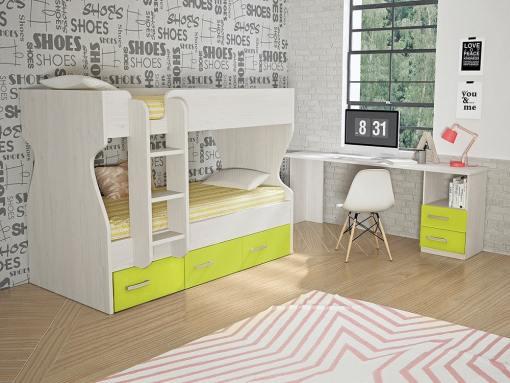 Dormitorio juvenil, color verde - cama litera con cajones y escritorio - Luddo 26