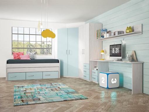 Children's Furniture Set in Blue: 2 Wardrobes, Bed, Desk and Shelf - Luddo 16