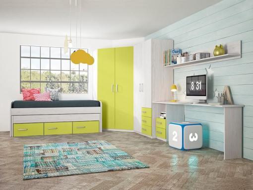 Children's Furniture Set in Green: 2 Wardrobes, Bed, Desk and Shelf - Luddo 16
