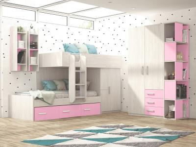 Children's Bedroom Set in Pink: Bunk Bed with Wardrobe, 2 Door Wardrobe, Shelves - Luddo 22