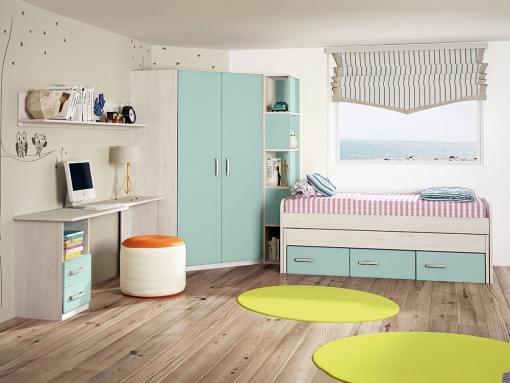Dormitorio juvenil. Armario rincón con estantería lateral, cama, mesa estudio y estante. Azul - Luddo 09