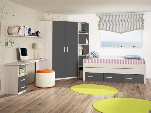 Dormitorio juvenil. Armario rincón con estantería lateral, cama, mesa estudio y estante. Gris - Luddo 09