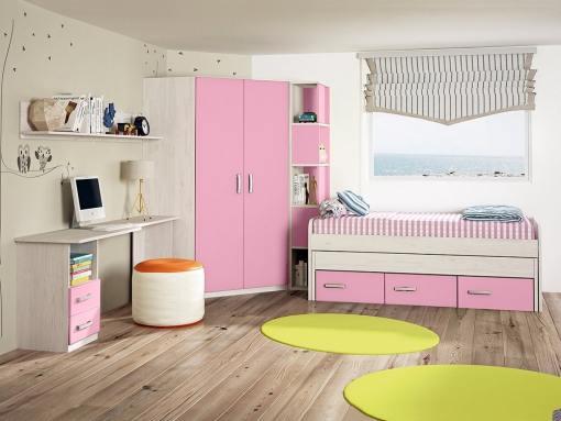 Dormitorio juvenil. Armario rincón con estantería lateral, cama, mesa estudio y estante. Rosa - Luddo 09