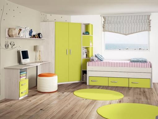 Dormitorio juvenil. Armario rincón con estantería lateral, cama, mesa estudio y estante. Verde - Luddo 09