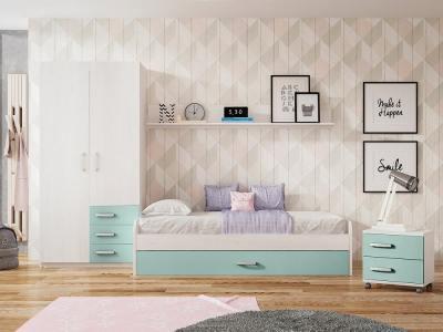 Children's Bedroom Set in Blue and Light Grey. Trundle Bed, Bedside Table, Wardrobe, Shelf - Luddo 01
