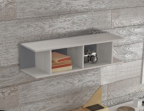 Grey Sectional Wall Shelf for Kids Rooms (Vertical or Horizontal Hanging) - Luddo