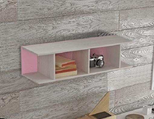 Pink Sectional Wall Shelf for Kids Rooms (Vertical or Horizontal Hanging) - Luddo