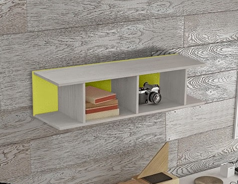 Green Sectional Wall Shelf for Kids Rooms (Vertical or Horizontal Hanging) - Luddo