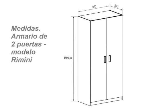 Размеры двух-дверного шкафа Rimini