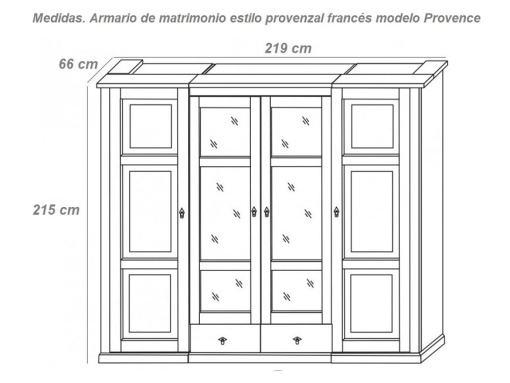 """Размеры четырёхдверного платяного шкафа с зеркалами в стиле """"прованс"""" - Provence"""