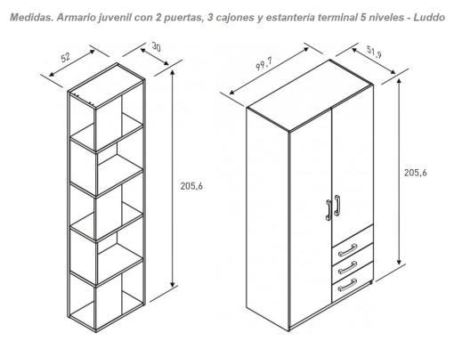 Размеры шкафа с боковым стеллажом в детскую комнату - Luddo