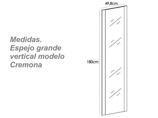 Medidas. Espejo grande vertical modelo Cremona