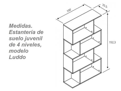Medidas. Estantería de suelo juvenil de cuatro niveles, modelo Luddo