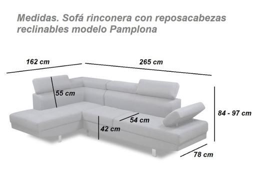 Medidas. Sofá rinconera con reposacabezas reclinables modelo Pamplona