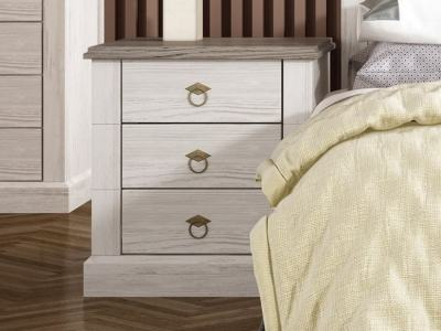 French Rustic Style 3 Drawer Bedside Table – Provence