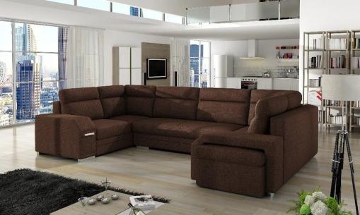 Sofá grande en forma de U con cama y 3 arcones - Baia. Color marrón (Inari 28). Esquina lado derecho